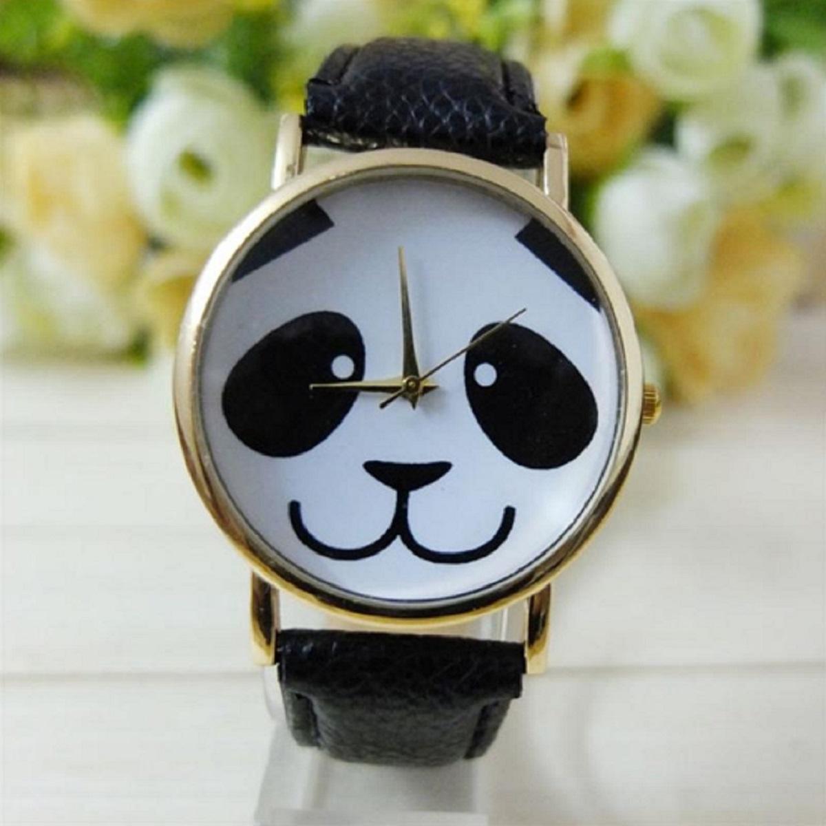 Montre panda sourir noire 1200 x 1200